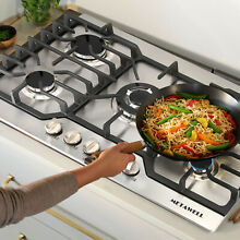 METAWELL Silver 30 Steel Built in 5 Burner Stoves LPG NG Gas Hob Cooktops Cooker