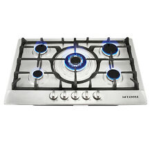 METAWELL 30in  Stainless Steel Burners Built in 5 Stoves NG LPG Gas Cooktops