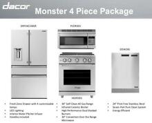 Dacor 4 Piece Kitchen Package DRF36C100SR HGER30  PCOR30S DDW24S Stainless Steel