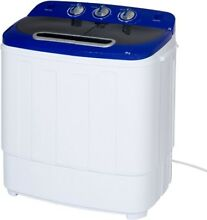 Portable Mini Washing Machine Compact Twin Tub Spin Cycle Hose Camping Dorm