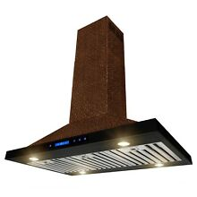 36  Island Mount Range Hood Embossed Copper 4 Speed Touch Control for Kitchen