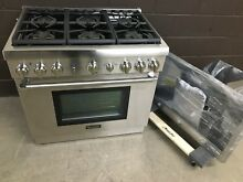 2 pc set  Thermador PRG366GH 36  Gas Range 6 Burner   36  Vent Hood