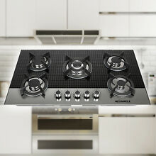 Windmax 35 5inch Tempered Glass 5 Burners Built In Gas Cooktop LPG NG Gas Hob