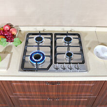 METAWELL 23in  GAS Stainless Steel Cooktop Stove Cook Top 4 Burner US Seller