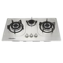 US  30  Cooktop NG LPG Kitchen Cook Tops Stainless Steel 3 Burners Gas Cooker