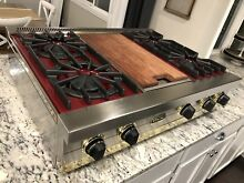 Tested   Viking  36  Professional Cooktop W Griddle Stainless Maroon Red Gold
