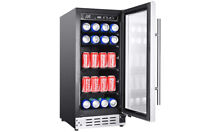 Commercial Beverage Cooler 92 Can Refrigerator LED Display Stainless Steel Glass