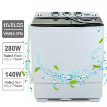 26 LBS Compact Washing Machine Portable Twin Tub Laundry Spin Dryer w Drain Pump
