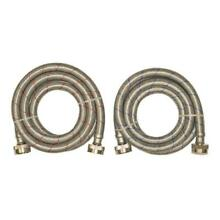 2 Pack Hose Thread Inlet Outlet Stainless Steel Washing Machine Connector New