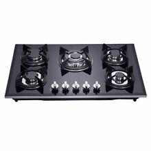 Delikit A 30  5 burners gas cooktop  gas hob NG LPG dual fuel sealed glass panel
