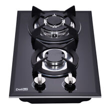 Delikit A 12  2 burners gas cooktop  gas hob NG LPG dual fuel sealed glass panel
