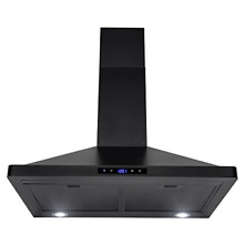 30  Black Stainless Steel Touch Panel Wall Mount Range Hood Vent Cooking Fan New