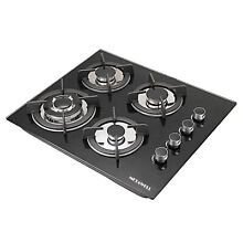 METAWELL 23 6inch GAS Black Tempered Glass Cooktop Stove 4 Burner Cook Top