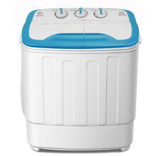 Portable Compact Laundry Washing Machine White 13lbs  Twin Tub Washer Spin Dryer