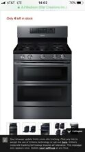 SAMSUNG NX58K7850SG 5 8 cu  ft  Flex Duo  Dual Door Gas Range Black Stainless