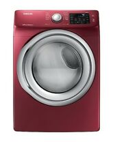 New Samsung 7 5 Cu Ft Stackable Electric Dryer  Merlot  Dve45n5300f