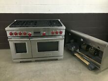 2 pc set  Wolf DF486C 48  PRODual Fuel Range 6 Burners Charbroil   Vent Hood