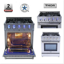 Thor 30  Pro Style Gas Range with 4 2 cu  ft  4 Burners Stainless Steel HRG3080U