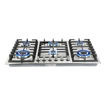 34in  Stainless Steel 6 Burner Built In Stove NG Cooktops Home Kitchen Cooker