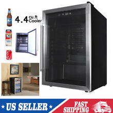 Beverage Cooler Mini Wine Fridge Drinks 4 4 cu ft With Glass Door Kitchen Office