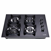 Delikit 1A 24 4 burners gas cooktop gas hob NG LPG dual fuel sealed glass panel