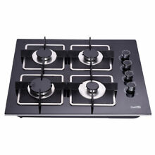 Delikit 2A 24 4 burners gas cooktop gas hob NG LPG dual fuel sealed glass panel