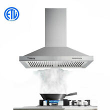 30 Inch Wall Mounted Range Hood 350CFM Chimney Type Three Speed LED Light Vent