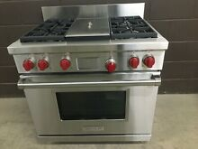 Wolf DF364G   36  Professional Dual Fuel Range Stove 4 Burners   Griddle