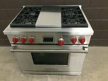 New Wolf DF364C   36  Professional Dual Fuel Range Stove 4 Burners   Charbroil
