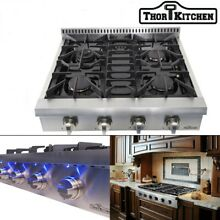 30  THOR KITCHEN Stainless Pro HRT3003U Gas Rangetop Cooktop Griddle 4 Burners
