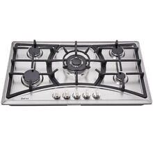 Delikit 07A 34  5 burners gas cooktop gas hob NG LPG dual fuel sealed S S panel