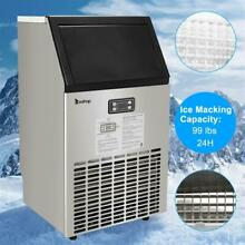 ZOKOP Built in Commercial Ice Maker Stainless Steel Restaurant Ice Cube Machine