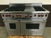 Wolf R486G 48  Professional All Gas Range 6 Burners   Griddle Red Knobs