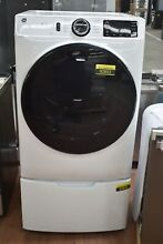 GE GFD55ESSNWW 30  White Front Load Electric Dryer and Pedestal NOB  92852 HRT
