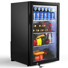 Famistar Beverage Refrigerator and Cooler   126 Can Mini Fridge with Glass Door