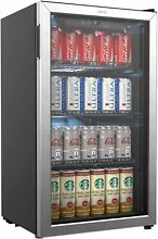 120 Can  Mini Fridge Glass Door Soda Pop Beer Beverage Cooler Refrigerator