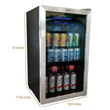 Beverage Refrigerator Cooler 140 Can Mini Glass Door Fridge Stainless Steel