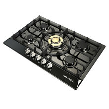 30  Gas Cooktop 5 Burners Built in Gas Stove LPG NG Convertible Stainless Steel
