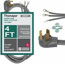 3 Prong Dryer Cords 3 Prong Dryer Extension Cord Gray 4 Foot Power Cord 10