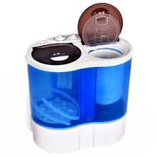 Portable Mini Washing Machine Compact Twin Tub 15lbs Washer Spin Spinner