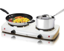 White Electric Stove Top High Powered 2 Burners Cooktop Range Oven Hot Plate 7