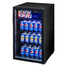 70W 120Can Beverage Mini Refrigerator Portable Machine With Glass Door Home