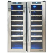 Vinotemp   48 Bottle Dual Zone Thermoelectric Mirrored Wine Cooler   Black