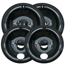 Top Replacement 4 Sets GE Hotpoint Chrome Stove Drip Pans Electric Burner Covers