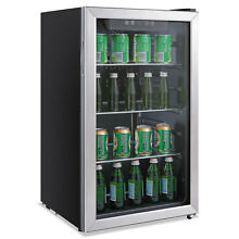 Alera 3 4 Cu  Ft  Beverage Cooler Stainless Steel Black RFBC34
