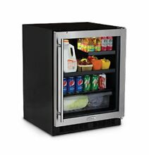 24  Low Profile Beverage Refrigerator   Stainless Frame  Glass Door With Lock