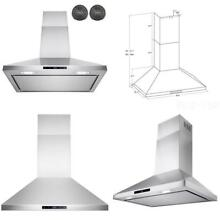 Kitchen Ductless Range Hood LED Touch Screen Panel Stainless Steel 30 Inch