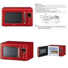 Daewoo   KOR 7LRER   Retro Microwave Oven   0 7 cu  ft  700W  Pure Red
