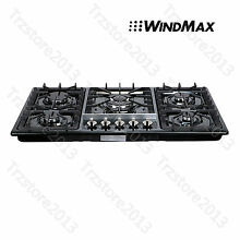 34in  Black Titanium Stainless Steel 5 Burner Built In Stove Gas Cooktop