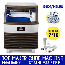 Ice Cube Making Machine 440lbs 24h Ice Maker 200kg 110v 7 18 Ice Cubes